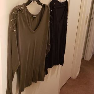 Express tops black and olive tops